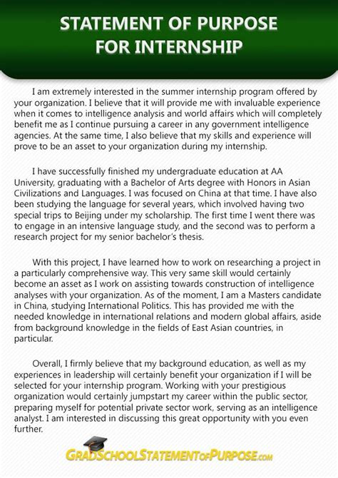 Statement Of Purpose Essay Exle by Pin By Grad School Sop Sles On Internship Statement Of