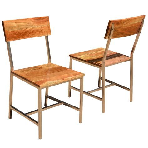 Solid Wood Dining Chairs Solid Wood Iron Rustic Dining Chair Set Of 2