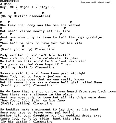 clementine lyrics johnny song clementine lyrics and chords