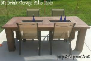 Patio Storage Table Purposeful Productions Diy Wood Patio Table With Drink Storage