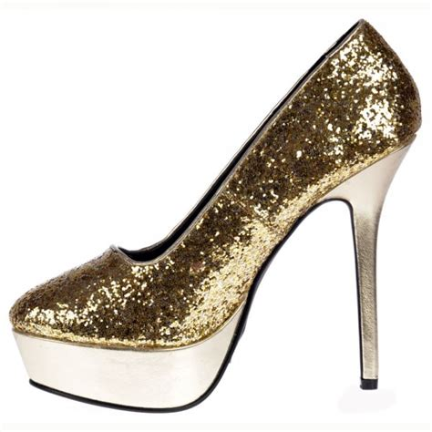High Heels Gold Silver shoekandi platform high heels glitter and metallic silver gold shoekandi from shoe