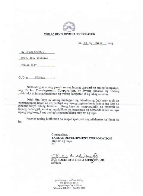 Eviction Letter Sle Philippines 2013 2014 Rights Violations In Hacienda Luisita
