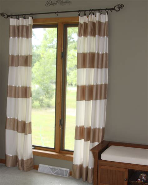 sheets for curtains make striped curtains from a bedsheet and an old bedskirt