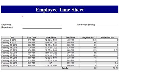 excel time card template free best photos of excel template employee card employee
