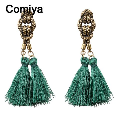 Earring Tassel Anting Fashion Import comiya fashion anti gold plating zinc alloy charm thread tassel pendant drop earrings brinco