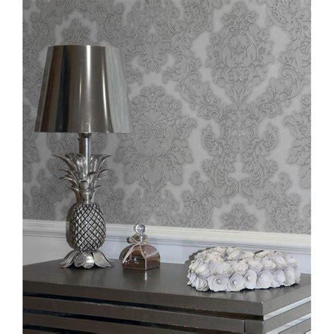 grey wallpaper b m b m arthouse vicenza grey damask wallpaper 312236 b m