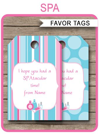 spa party favor tags template thank you tags
