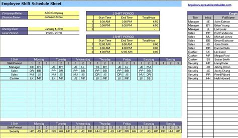 Employee Shift Scheduling Spreadsheet by Employee Absence Spreadsheet Templates
