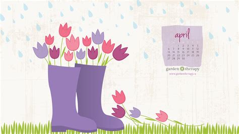 garden therapy downloadable desktop calendar april showers