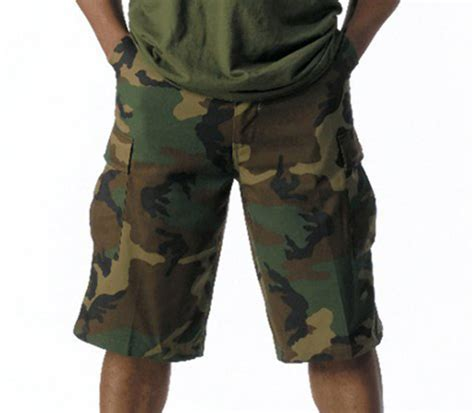 camo shorts woodland forest camo extra long length bdu military cargo