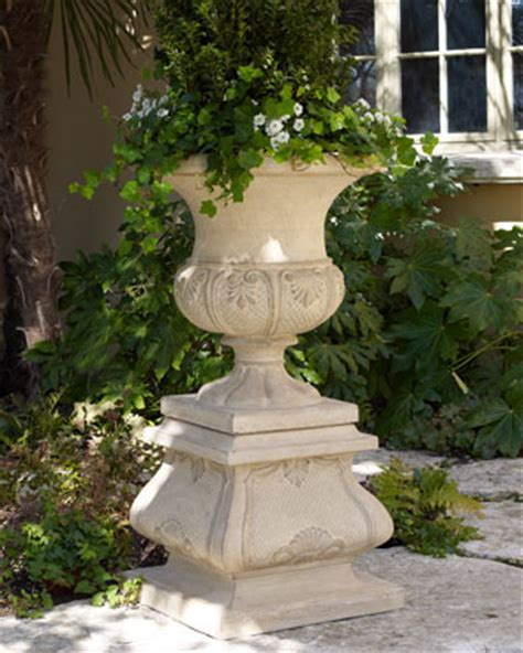 leaf urn planter traditional outdoor pots and