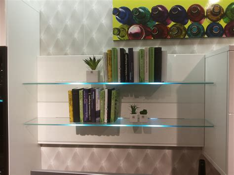 bookcase with led glass shelf lights led wall mounted