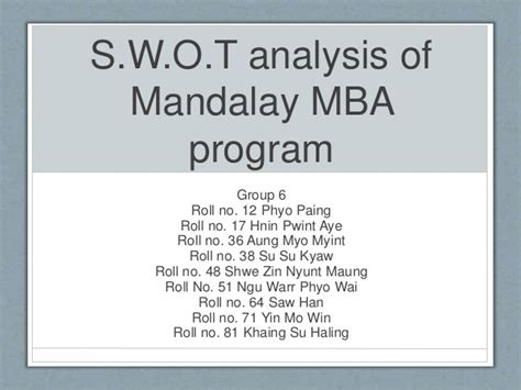 Tesla Mba Program by Swot Analysis Of Mandalay Mba