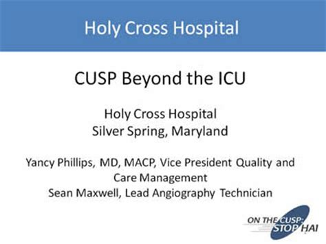 Holy Cross Mba by Organizational Embrace Of Cusp To Improve Patient Safety