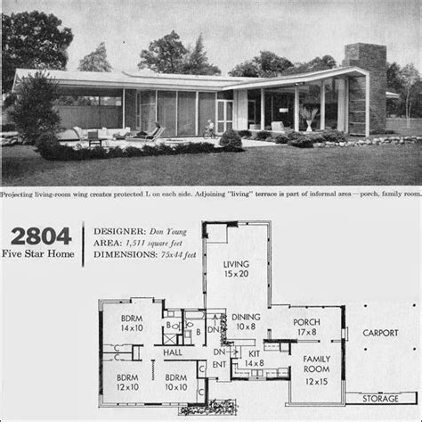 mid century ranch house plans c 1960 mid century california modern house plan better