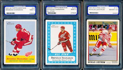 Red Wing Gift Card - lot detail 3 diff pgs graded detroit red wings cards