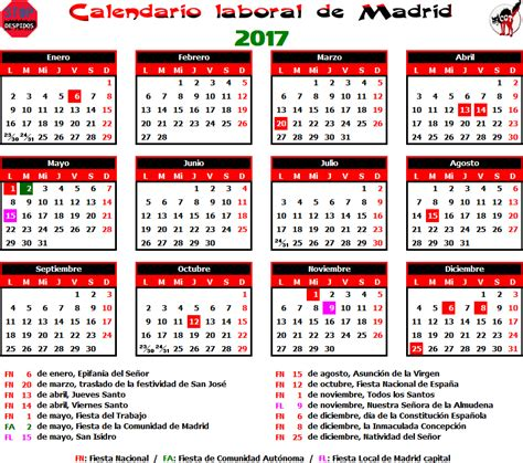 Calendario Laboral 2017 Madrid Capital Gatos Sindicales Mad Calendario Laboral 2017 Madrid