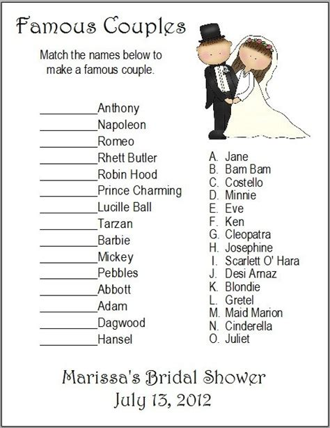 printable christian bridal shower games 24 personalized famous couples bridal shower game by