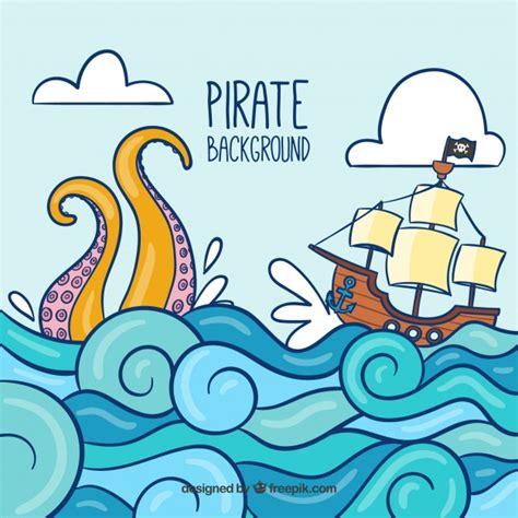 dibujo barco con olas fondo con barco pirata y olas descargar vectores gratis