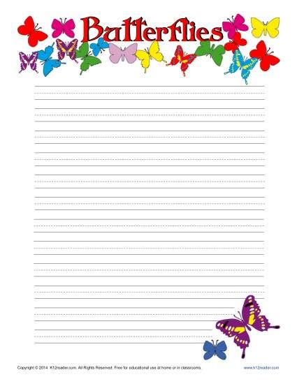 butterfly writing paper butterfiles printable lined writing paper