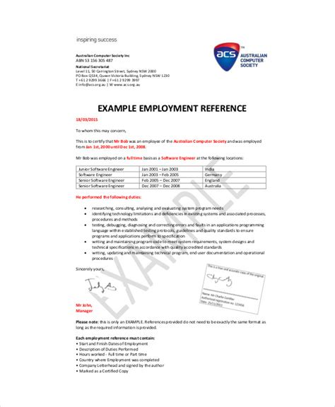 Acs Employment Reference Letter Format Sle Recommendation Letter From Employer 6 Exles In Word Pdf