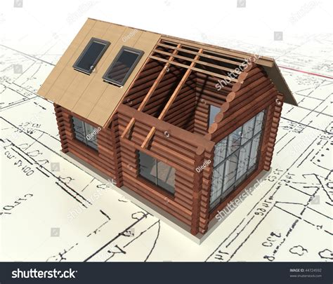 house master plan wooden log house on master plan stock illustration 44724592 shutterstock