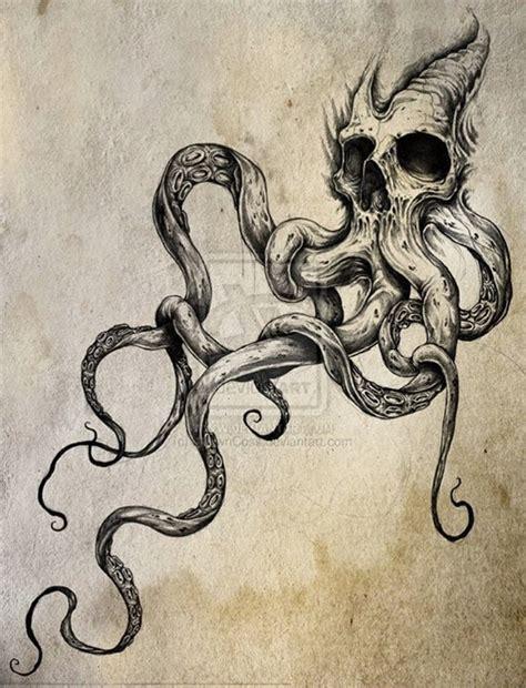 skull octopus tattoo and octopus