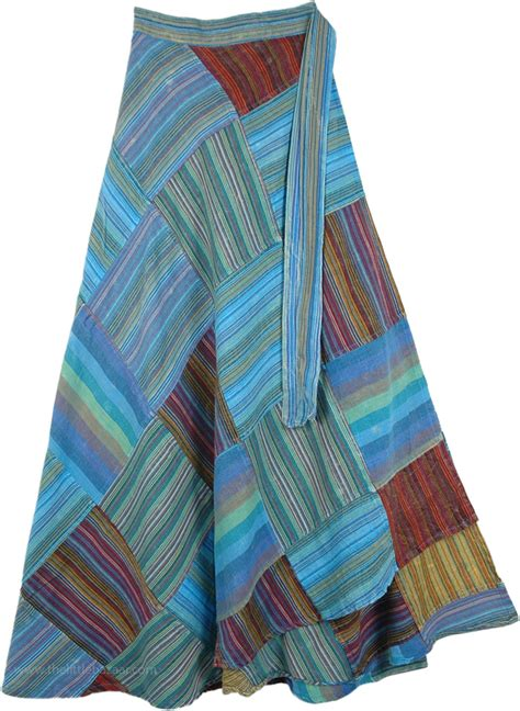 Blue Patchwork - hippie skirt with azure blue stripes patchwork clothing