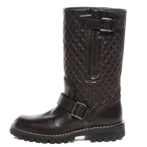 Chanel Quilted Biker Boots by Chanel Calfskin Quilted Biker Boots 36 Marron Fonce 89279