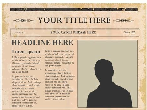 Editable Olden Times Newspaper Powerpoint Newspaper
