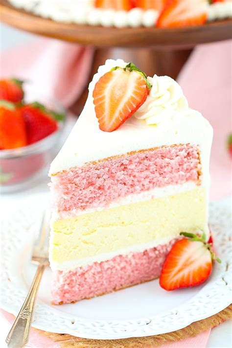 Strawberries and Cream Cheesecake Cake   Life Love and Sugar