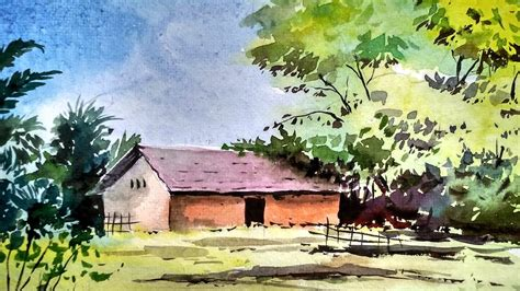 Landscape Pictures To Draw And Paint Beginners Watercolor How To Draw A House Landscape