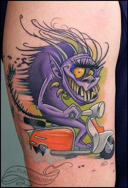 tattoo cartoon monster off the map tattoo tattoos cartoon monster riding a