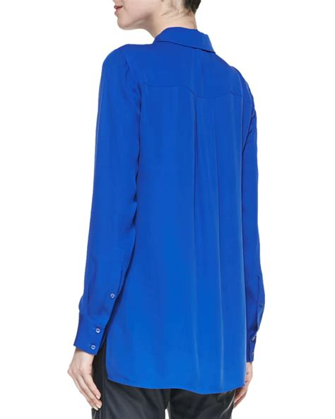 Blouse Blue lyst vince classic sleeve silk blouse in blue