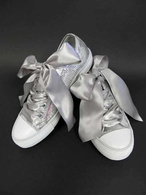 Comfortable Silver Shoes For Wedding by Custom Silver Sequin Wedding Tennies With Ribbon Laces
