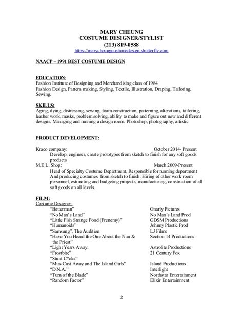 Costume Designer Cover Letter by Cheung Designer Resume W References And Cover Letter
