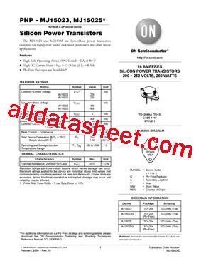 datasheet transistor mj15025 mj15025 datasheet pdf on semiconductor
