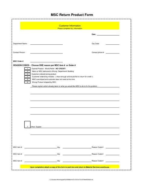 product template best photos of return form template return material