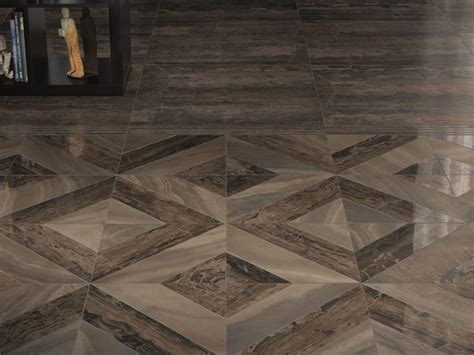 combine natural stone wall and brown ceramic tile that dramatic porcelain floor tile with marble effect by