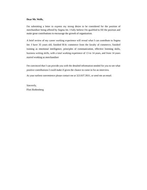 Merchandiser Cover Letter by Merchandiser Cover Letter Sles And Templates