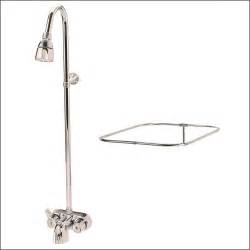 clawfoot tub shower diverter faucet curtain rod combo ebay