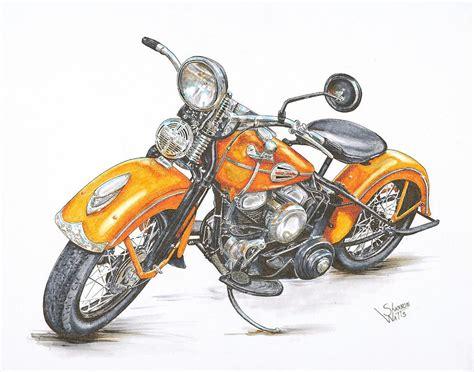 Harley Davidson Drawings by 1942 Harley Davidson Flathead Drawing By Shannon Watts