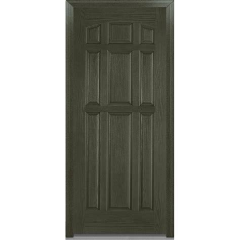 Prehung Fiberglass Exterior Doors Milliken Millwork 36 In X 80 In Severe Weather Left Outswing 9 Panel Classic Stained