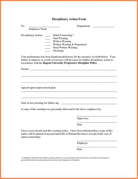employee warning notice form write up template student referral