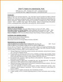 Physician Assistant Resume Sle by 5 Cv Exapmle Doctor Cashier Resumes