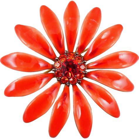 Flower Brooch orange enamel flower brooch from antiqueali on ruby