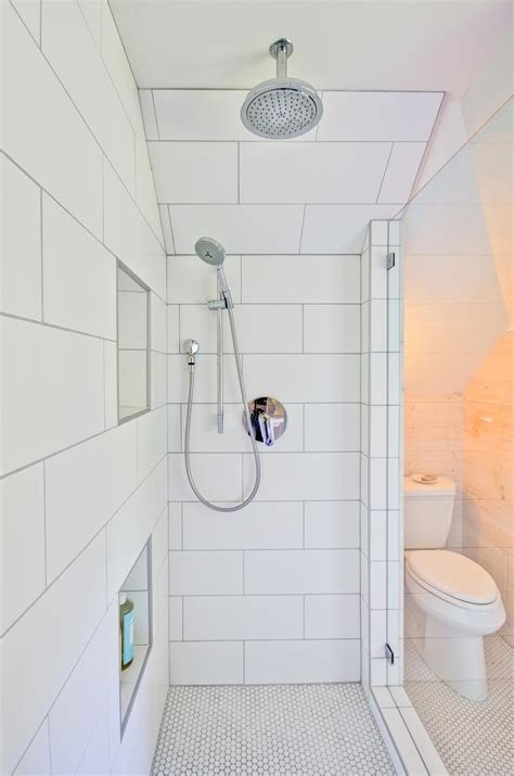 large white tile bathroom large white subway shower tile in modern farmhouse