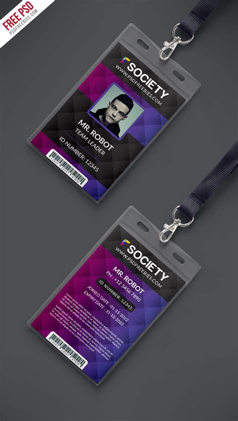 Corporate Id Card Template Psd Free by Corporate Office Id Card Psd Template Psdfreebies