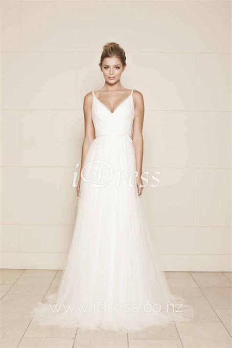 A Wedding Dress by A Line V Neckline Sleeveless Simple Tulle Wedding