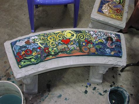 mosaic benches 457 best images about mosaic furniture on pinterest